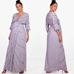 Maternity Wedding Embellished Batwing Dress